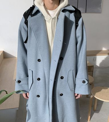 Plain Long Oversized Peacoats Coats