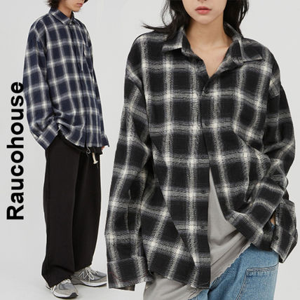 Raucohouse Shirts Glen Patterns Other Plaid Patterns Unisex Street Style