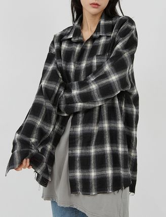 Raucohouse Shirts Glen Patterns Other Plaid Patterns Unisex Street Style 5