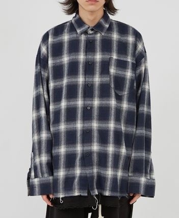 Raucohouse Shirts Glen Patterns Other Plaid Patterns Unisex Street Style 14