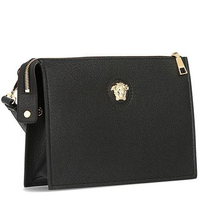 VERSACE Leather Logo Clutches