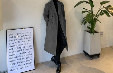 Plain Long Midi Oversized Peacoats Coats