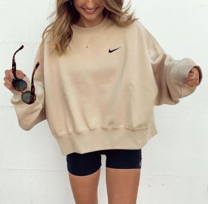 Nike Street Style Long Sleeves Plain Logo Hoodies & Sweatshirts