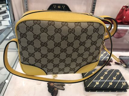 GUCCI Casual Style Canvas Leather Office Style Elegant Style