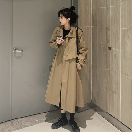 Casual Style Long Oversized Trench Coats