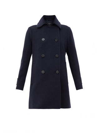 Weekend Max Mara Casual Style Wool Plain Logo Peacoats