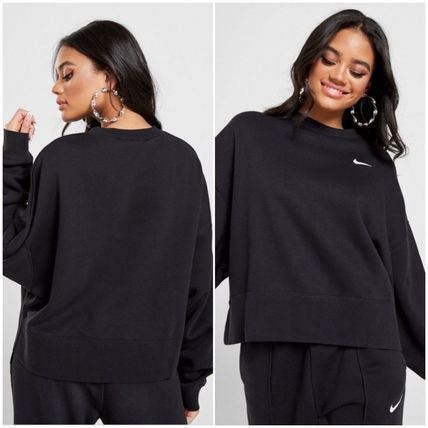 Nike Sweat Street Style Long Sleeves Plain Cotton Oversized Logo