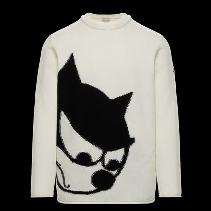 MONCLER Sweaters Crew Neck Wool Cashmere Plain Logos on the Sleeves Sweaters 2