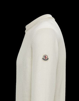 MONCLER Sweaters Crew Neck Wool Cashmere Plain Logos on the Sleeves Sweaters 4
