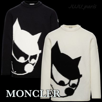 MONCLER Sweaters Crew Neck Wool Cashmere Plain Logos on the Sleeves Sweaters