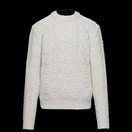 MONCLER Crew Neck Cable Knit Wool Bi-color Plain
