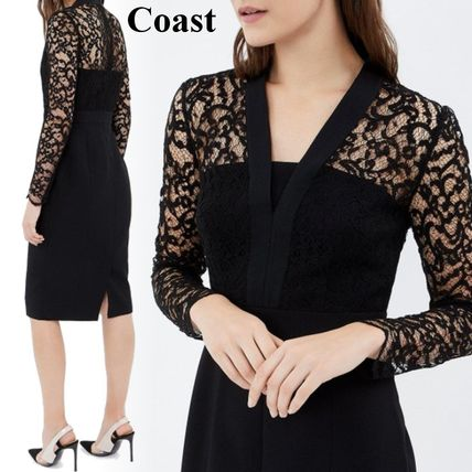 Tight V-Neck Long Sleeves Medium Party Style Lace
