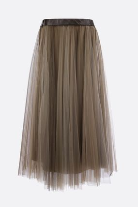 BRUNELLO CUCINELLI Casual Style Pleated Skirts Plain Medium Party Style