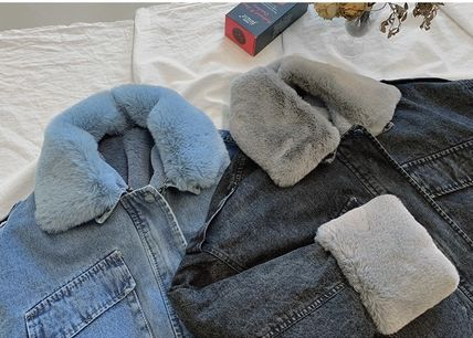 Short Unisex Denim Faux Fur Blended Fabrics Street Style