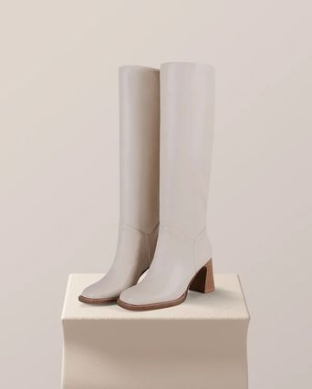 Square Toe Casual Style Plain Chelsea Boots Chunky Heels