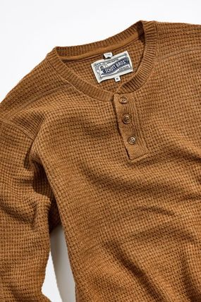 Pullovers Wool Henry Neck Street Style Long Sleeves Plain