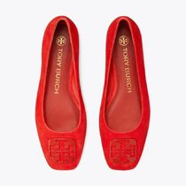 Tory Burch Suede Plain Leather Logo Flats