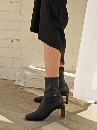 Square Toe Leather Ankle & Booties Boots