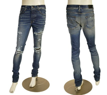 AMIRI Skinny Blended Fabrics Street Style Leather Cotton Skinny Jeans 2