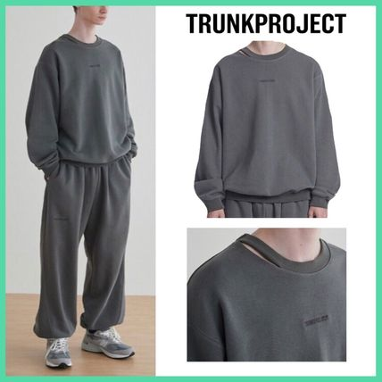 TRUNK PROJECT Sweatshirts Crew Neck Unisex Sweat Street Style Long Sleeves Plain