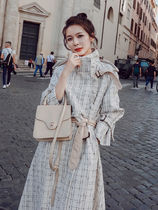 Other Plaid Patterns Tweed Long Oversized Trench Coats