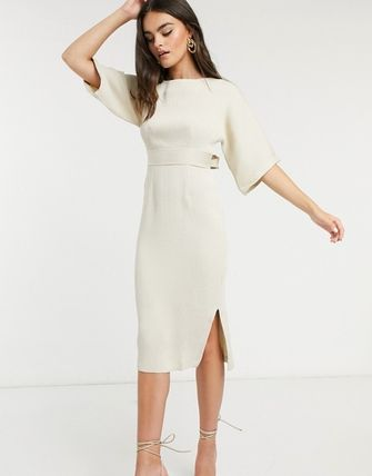 Closet London Ribbed Pencil Dress With Tie Belt In Stone