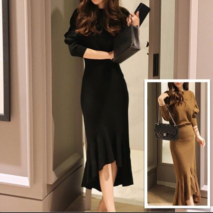Crew Neck Tight Boat Neck Long Sleeves Plain Long Midi