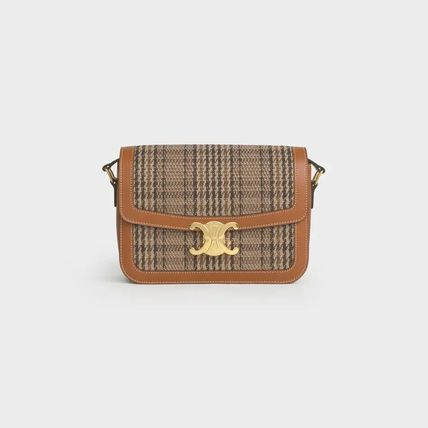 CELINE Triomphe Medium Triomphe Bag In Triomphe Textile And Calfskin