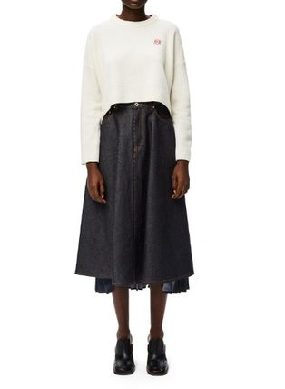 LOEWE Flared Skirts Casual Style Plain Cotton Medium Elegant Style