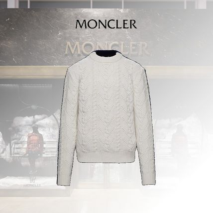MONCLER Crew Neck Cable Knit Wool Blended Fabrics Long Sleeves Plain