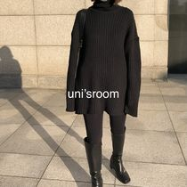 Casual Style Wool Rib Long Sleeves Plain Medium Long