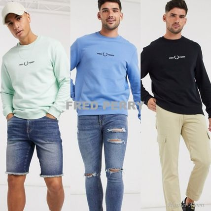 FRED PERRY Sweatshirts Crew Neck Pullovers Street Style Long Sleeves Plain Cotton