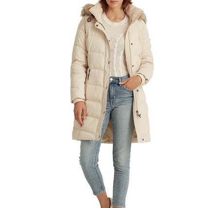 Ralph Lauren Faux Fur Plain Medium Long Down Jackets
