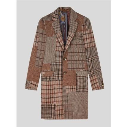 ETRO Tartan Other Plaid Patterns Paisley Wool Chester Coats