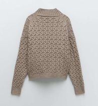 ZARA Cable Knit Casual Style Wool Long Sleeves Sweaters