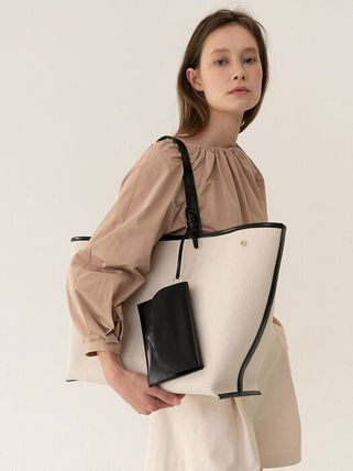 Casual Style Bag in Bag A4 2WAY Plain Leather Party Style