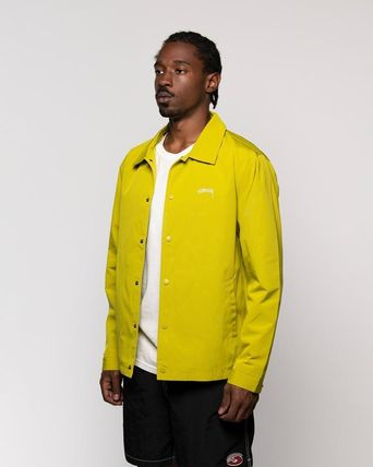 STUSSY Nylon Street Style Plain Long Windbreaker Coach Jackets