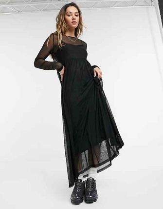 Crew Neck Casual Style Maxi Blended Fabrics Long Sleeves