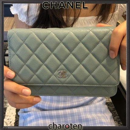 CHANEL CHAIN WALLET Casual Style Calfskin 3WAY Chain Plain Leather Party Style