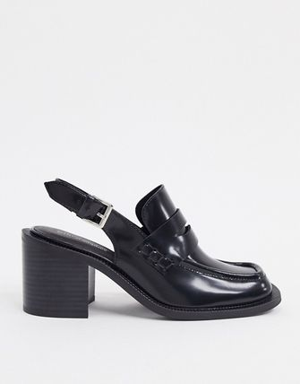 Casual Style Plain Leather Block Heels Office Style