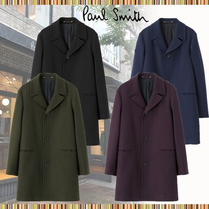 Paul Smith Wool Plain Long Peacoats Coats