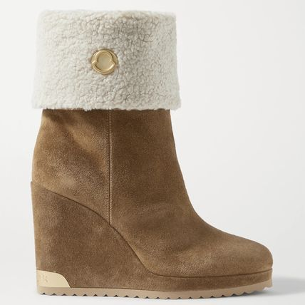 MONCLER Casual Style Suede Fur Blended Fabrics Street Style Plain