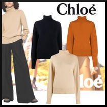 Chloe Casual Style Cashmere Long Sleeves Plain Formal Style