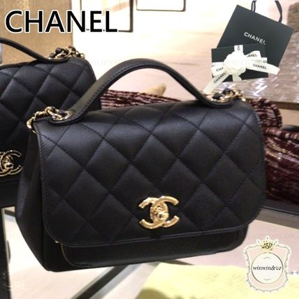 CHANEL 2WAY Chain Leather Elegant Style Shoulder Bags