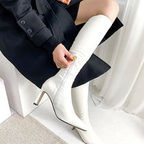 Square Toe Casual Style Suede Faux Fur Plain High Heel Boots