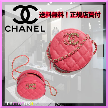 CHANEL Casual Style Calfskin Chain Plain Leather Party Style