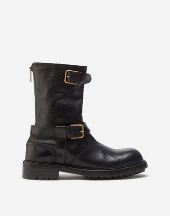 Dolce & Gabbana Plain Toe Plain Leather Engineer Boots