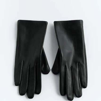ZARA Plain Leather Leather & Faux Leather Gloves