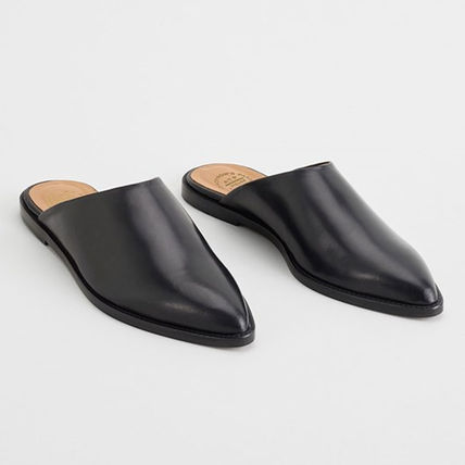 ATP Atelier Casual Style Unisex Plain Leather Slippers Logo