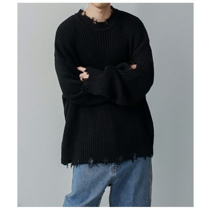 Sweaters Crew Neck Long Sleeves Plain Sweaters
